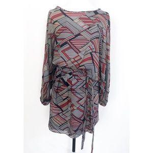 Geometric Architecture Silk Blouson Dress - Parker